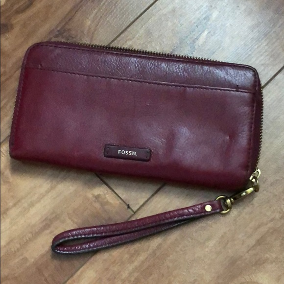 Fossil large red wallet wristlet leather